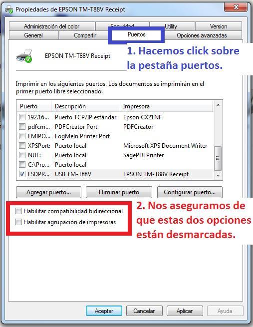Instalación de una Impresora de tickets EPSON TM Series