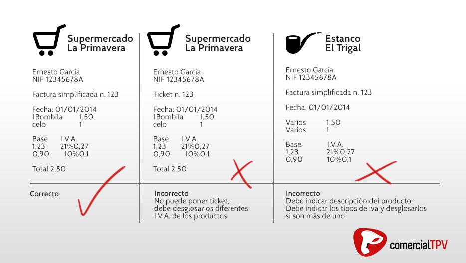Cómo hacer una factura simplificada correctamente - Comercial TPV